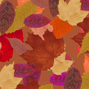 Autumn Leaf Pile on Cocoa Brown