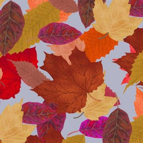 Autumn Leaf Pile on Smoke Blue