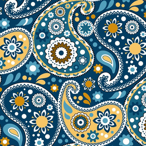 Paisley Elegance in Teal and Gold