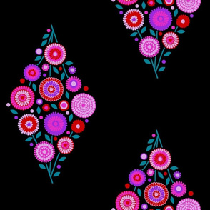 extra-large floral diamond in Mad colors on black