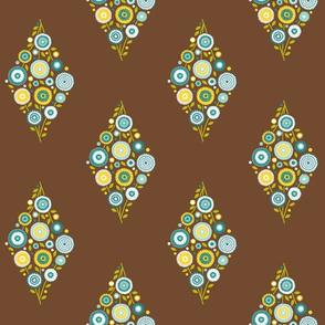 floral diamond - teal, aqua, yellow on brown
