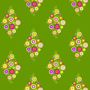 floral diamond - fuchsia, orange and chartreuse on green