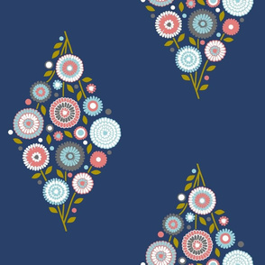 extra- large floral diamond - pink, grey and light blue on navy