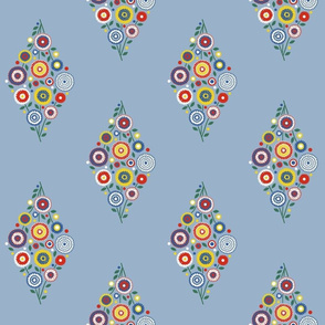 floral diamond in 1930s colors on light blue