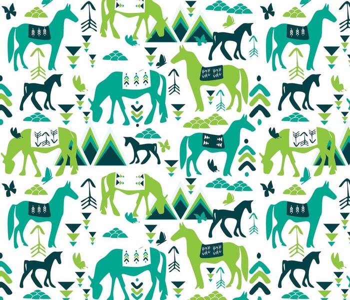 Saddle Blanket and Horses