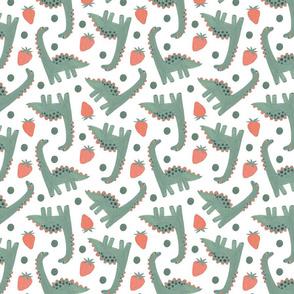 Cute dino and  Strawberry