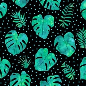 Watercolour monstera jungle with spots