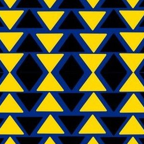 black and yellow triangles on blue