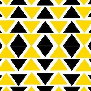 black and yellow triangles on white
