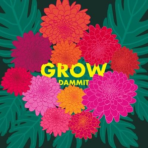 Grow Dammit - Embroidery Template