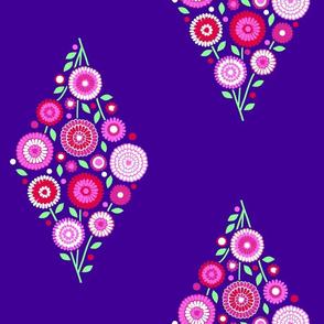 extra large floral diamond on purple sky