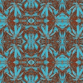 Cannabis Turquoise Red Stone Pot Leaf