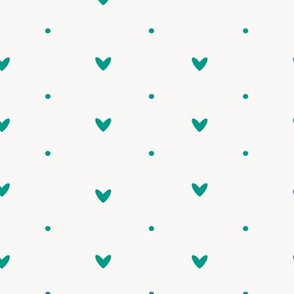 Hearts And Dots Teal