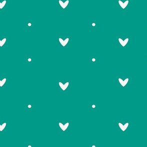 Hearts and Dots in Teal Background