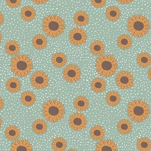 Sunflowers and speckles sweet boho flowers garden summer summer mint green yellow SMALL