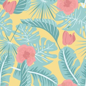 Summer Tropical on Yellow