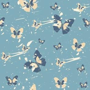 Butterflies in pastel blue