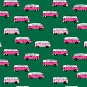 Little retro style hand drawn camper van design summer happy camper for girls green pink