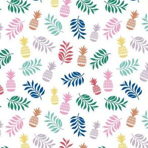 Pineapples and leaves lush tropical fruit garden kids design multi-color on white