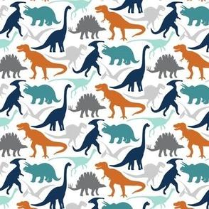 Little Dinosaur Friends -smaller - Navy-Orange-Grey
