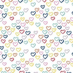 Messy ink hearts in multi color summer love design for kids