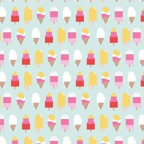 Little ice cream lollipops and ice cream cones snack summer design for kids