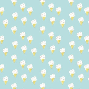 Melting ice-cream cone summer design retro style lime yellow on minty blue