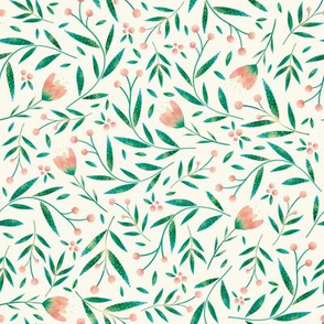 Loveable Little Bird // Sweet  Wildflowers, Berries, and Leaves //Cream and Peach color palette by Angelica Venegas