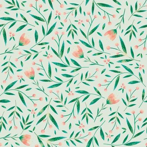 Loveable Little Bird // Sweet Wildflowers, Berries, and Leaves // Light green, and peach color palette by Angelica Venegas