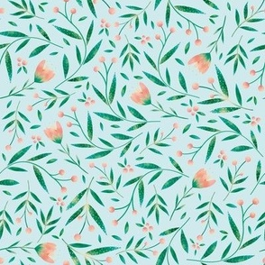 Loveable Little Bird // Sweet  Wildflowers, Berries, and Leaves //Light Blue, Green, and Peach color palette by Angelica Venegas