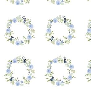 """6"""" watercolor wreath design blue floral"""