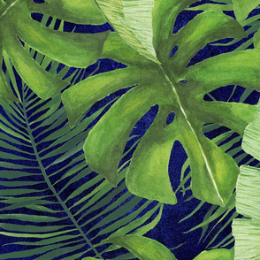 Moody Watercolor Tropical Pattern Large Repeat