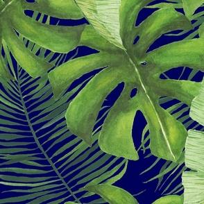 Moody Watercolor Tropical Pattern Large Repeat