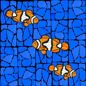 Mosaic Glass Clownfish on blued marble bg