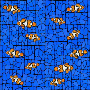 6 Mosaic Glass Clownfish on blue marble bg