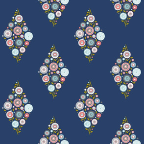 floral diamond on navy blue