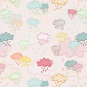 Pouring rain - over beige - bigger