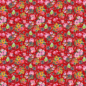 """Colors of Spring - RED (SMALL scale 8"""" x 6"""" repeat)"""