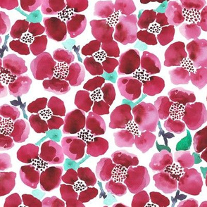 watercolor red summer flowers