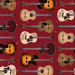 Acoustic Guitars on Red by ArtfulFreddy