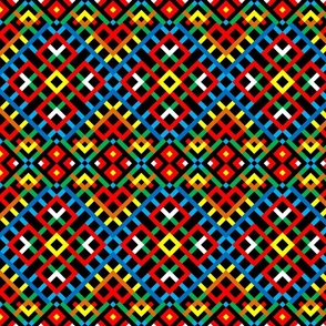 Tribal Modern Ethnic Ornament #1 with Traditional Ancient Symbol Element - Colorful Line Geometric Pattern - Blue Green Scarlet Red White Orange Yellow on Black - Middle