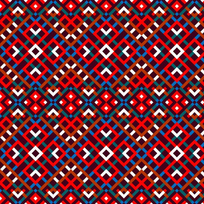 Tribal Modern Ethnic Ornament #4 with Traditional Ancient Symbol Element - Colorful Line Geometric Pattern - Scarlet Red Blue Green Brown White on Deep Purple Red - Middle