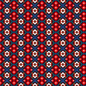 Tribal Simple Modern Ethnic Ornament #04 with Traditional Ancient Symbol Element - Colorful Line Geometric Pattern - Scarlet Red Blue Green Brown White on Deep Purple - Middle