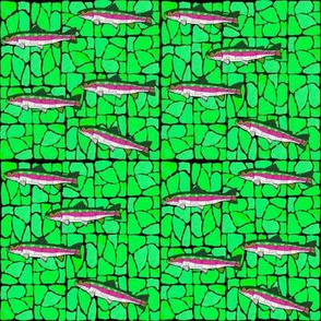 Mosaic Stained Glass 9 swimming trout on greens