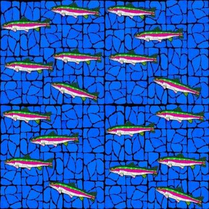 Mosaic Stained Glass 9 swimming trout on dark blued