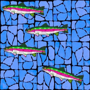 Mosaic Stained Glass 4 swimming trout on blued