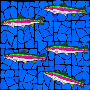 5 Mosaic Stained Glass swimming trout on drk blued