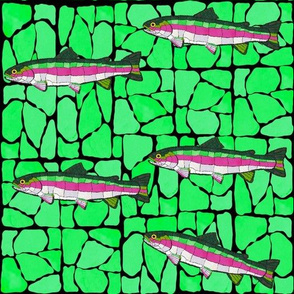7 Mosaic Stained Glass swimming trout onMosaic Stained Glass swimming trout on greens