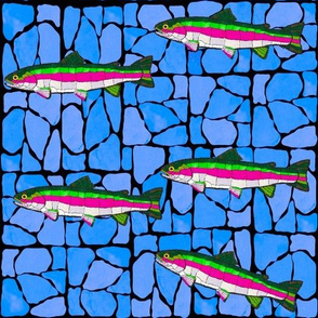 Mosaic Stained Glass swimming trout on bluedMosaic Stained Glass 5 swimming trout on blues