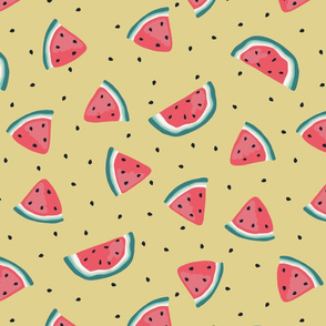 Watermelon and seeds - over yellow - bigger